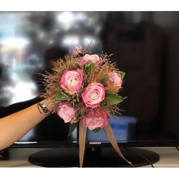 Yapay Pembe Gül Gelin El Çiçeği