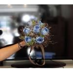 Mavi Gül Yapay Gelin El Çiçeği buketi