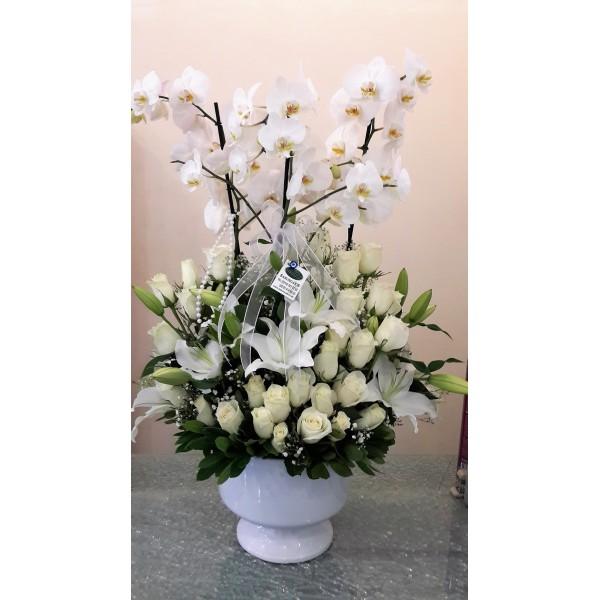 Kadeh Seramikte Orkide lilyum gül